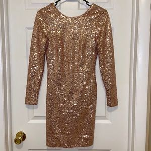 ✨ H&M Gold Sequin Open Back Dress